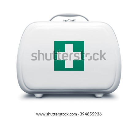 First aid kit with green cross logo on white background, frontal view - stock photo