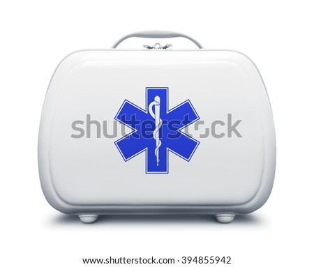 First aid kit with star of life logo on white background, frontal view - stock photo
