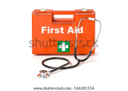 First aid kit with stethoscope - stock photo