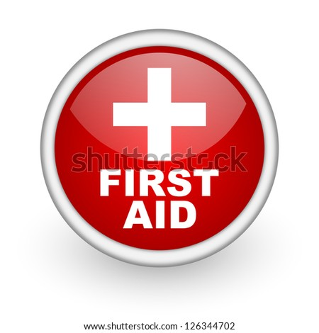 first aid red circle web icon on white background - stock photo