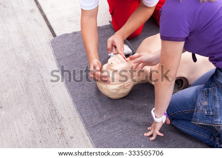 First aid training. Cardiopulmonary resuscitation (CPR). - stock photo
