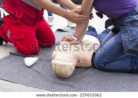First aid training detail - stock photo