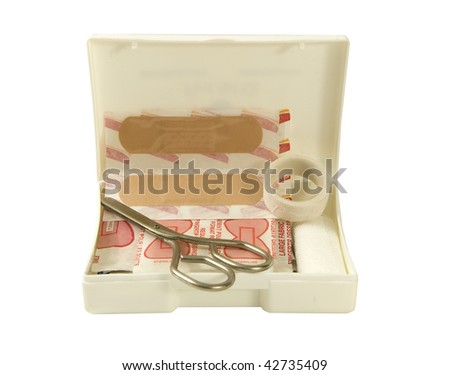 first aid travel kit - stock photo