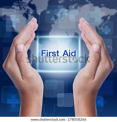 first aid word button on screen. medical concept - stock photo