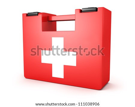 First Aids Medical Kit Box on white background - stock photo