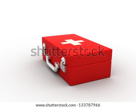 First aids. Medical Kit on white isolated background - stock photo