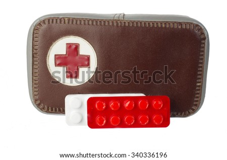 First aids. Survival and tourist equipment. Isolated on white - stock photo