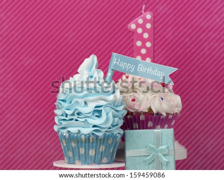 first birthday cupcake card design in pink and aqua - stock photo