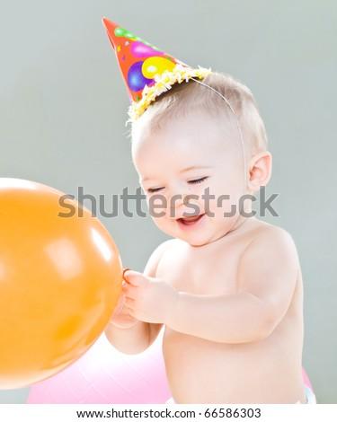 First birthday of cute baby boy - stock photo