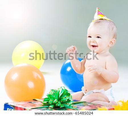First birthday of little baby boy - stock photo