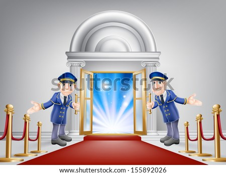 First class treatment conceptual illustration. A venue entrance with a red carpet and red velvet rope and two friendly doormen in uniform welcoming in a VIP guest. - stock photo