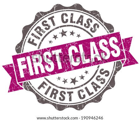 First class violet grunge retro style isolated seal - stock photo