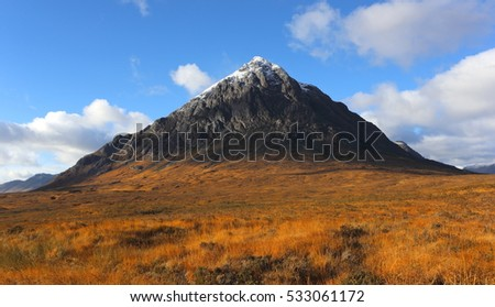 First fall of winter snow on Buachaille Etive Mor in November on Rannoch Moor in Lochaber.