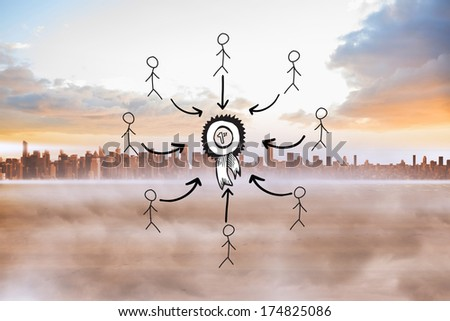 First place doodle with stick figures against cityscape on the horizon - stock photo