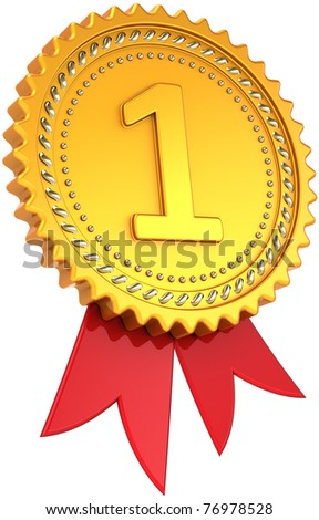 First place golden award with red ribbon. Achievement winner medal. Champion pride design element template classic. This is a high quality CG three-dimensional 3d render. Isolated on white background - stock photo