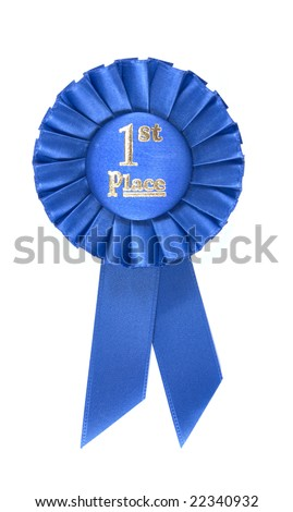 First Place Ribbon isolated on white - stock photo