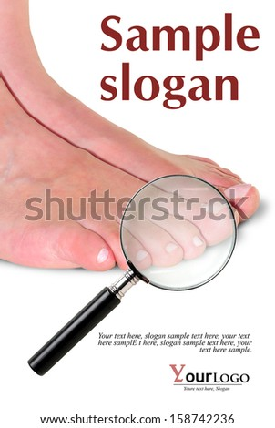 first plane of feet of woman with magnifying glass, and example texts     - stock photo