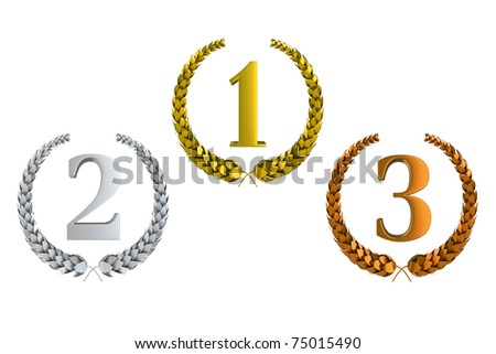 first second and third prize 3d laurels isolated on white background