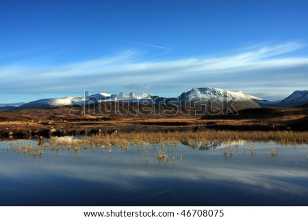 First snow of winter on Rannoch Moor. - stock photo