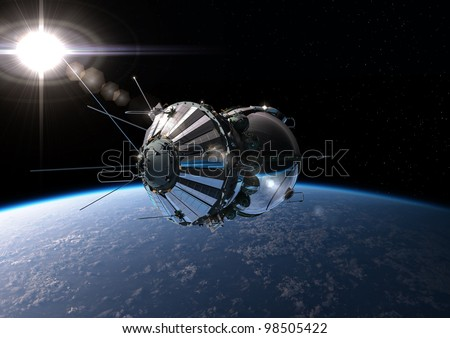 First spaceship at the Earth orbit - stock photo