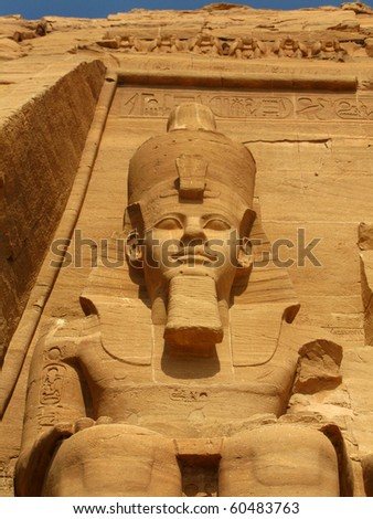 First statue of the magnificent Temple of Pharaoh Ramses II in Abu Simbel, Egypt.