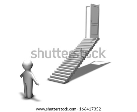 first step to career, abstraction with 3d man and stairs, decision, challenge, graduation  concept isolated illustration - stock photo
