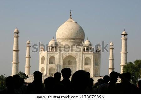 first view of Taj Mahal, Agra  - stock photo