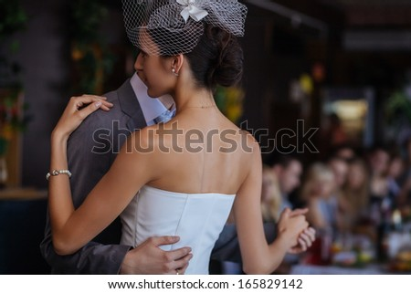 First wedding dance. Shallow depth of field - stock photo