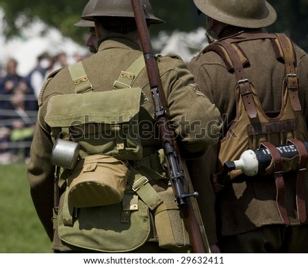 first world war british soldiers in a re-enactment