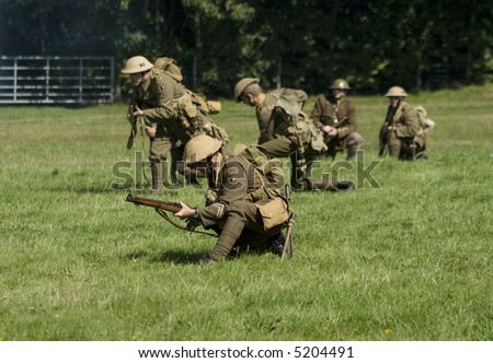 first world war british soldiers in a re-enactment - stock photo