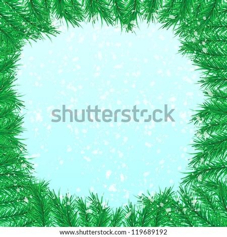 firtree branch, snowfall - stock photo