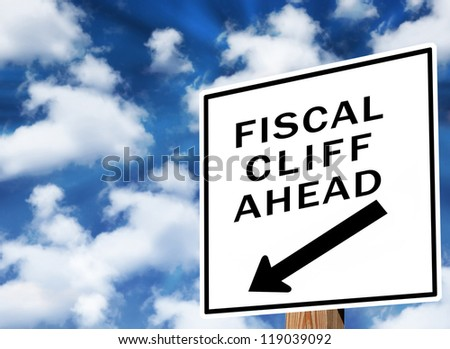 Fiscal cliff warning sign - stock photo