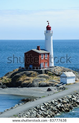 fisgard lighthouse at seashore, it is the first lighthouse built in vancouver island in 1860, victoria, british columbia, canada - stock photo
