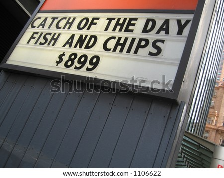 Fish and Chips $899 (at hooters)--FUNNY! - stock photo