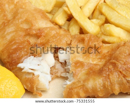 Fish and chips meal. - stock photo