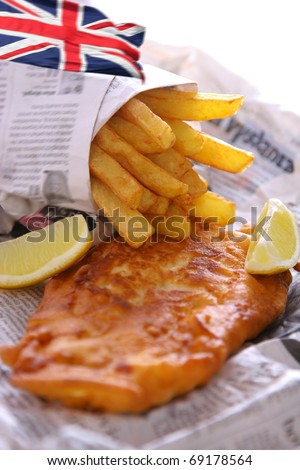 Fish and chips takeout, british cuisine