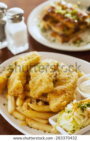 fish and chips with shrimp toast