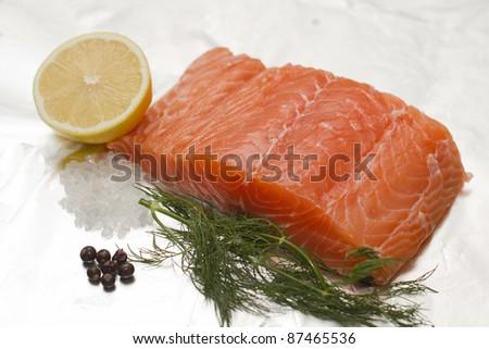 Fish and Lemon - stock photo