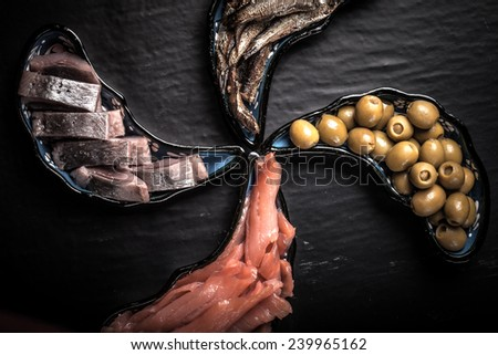 Fish assortment and olives on magic plates on a dark background - stock photo