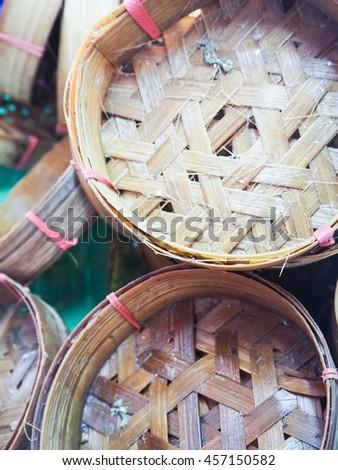 Fish basket soft focus. - stock photo