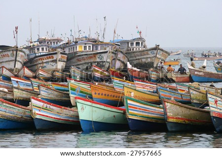 Fish boats in Kovalam, South India - stock photo