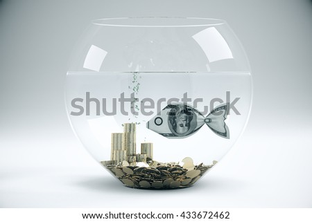 Fish bowl with dollar banknote fish and coins on light grey background. Financial concept. 3D Rendering - stock photo