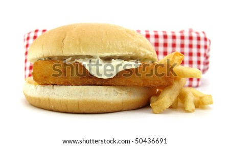 Fish burger and french fries