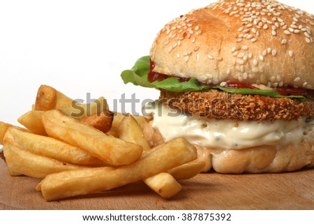 fish burger with French fries  - American food - fast food - stock photo