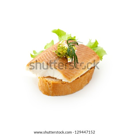 Fish Canapes - Smoked Trout Fillet with Horseradish and Lime Creme - stock photo