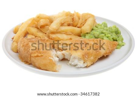 Fish, chips and mushy peas - stock photo