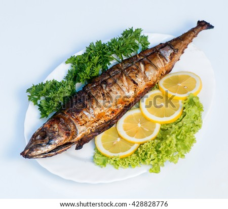Grilled mackerel stock images royalty free images for Fish on fire
