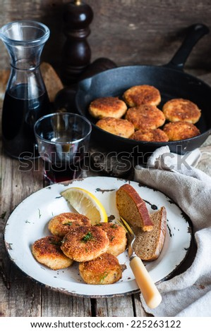 Fish cutlets, selective focus - stock photo