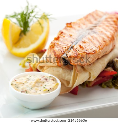 Fish Dishes - Salmon Steak with Vegetables, Lavash and Tartar Sauce