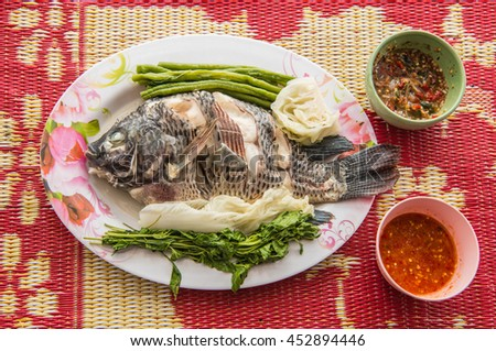 Fish Dishes - Steamed Tilapia Fish vegetables, Thai foods